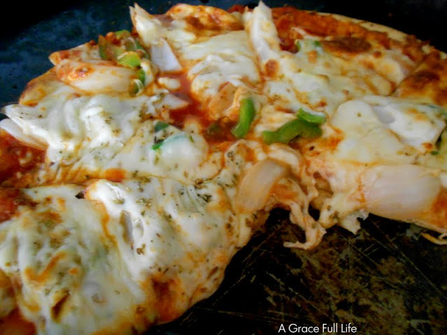 Yummy, gooey pizza. AND IT'S LOW FAT TOO!