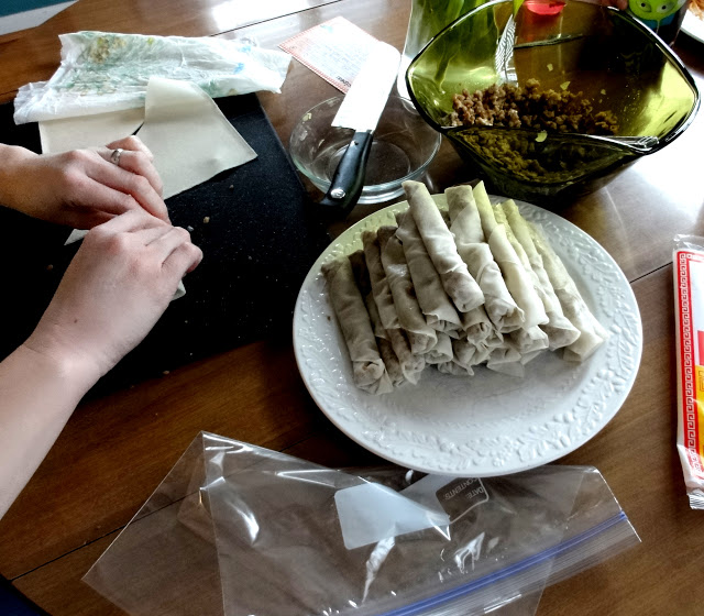 Assembling the Filipino Egg Rolls