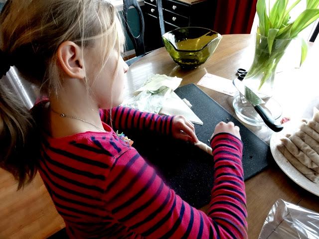 Anna assembling the Filipino Egg Rolls