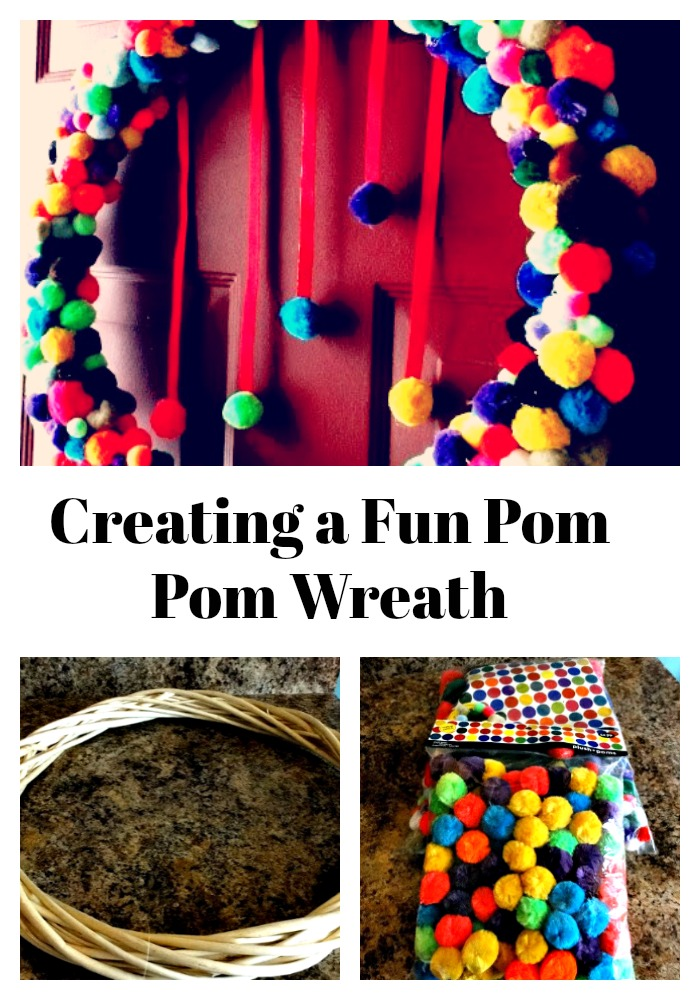 Creating a fun pom pom wreath!