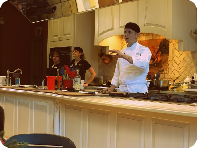 To the cooking demo with the professional chef: