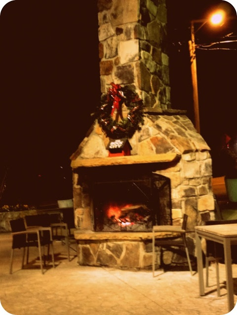 This outdoor fireplace was outside of the Starbucks. It was so cool.