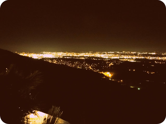The lights of Chattanooga from the top of Lookout Mountain.