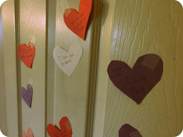 Fun little construction hearts taped to each of their doors!