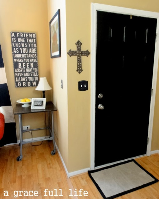 Interior black front door