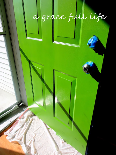 painting green front door