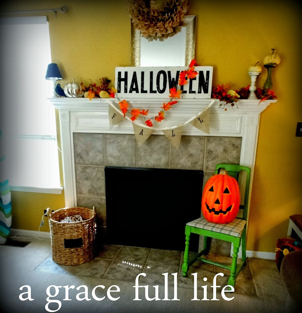 Halloween Mantel with green chair