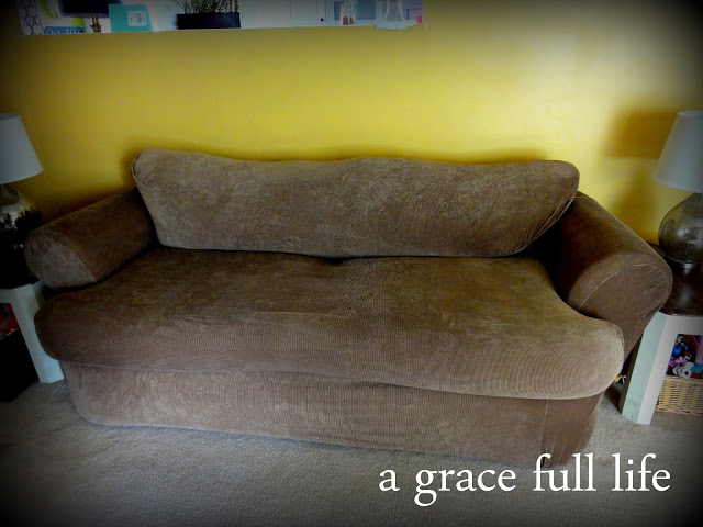 Our new couch without pillows
