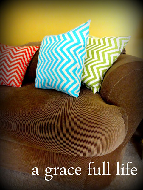 "Easy to ""make"" chevron pillows on our new couch!"