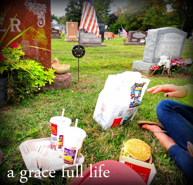 Eating lunch by Gramma's grave in Crestline Ohio