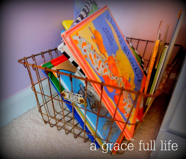 Wire basket holding books in little girl room makeover