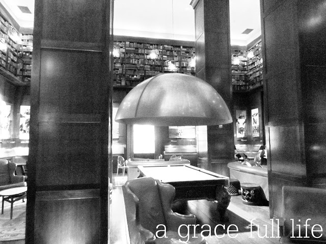 Cool library bar inside Hudson Hotel NYC