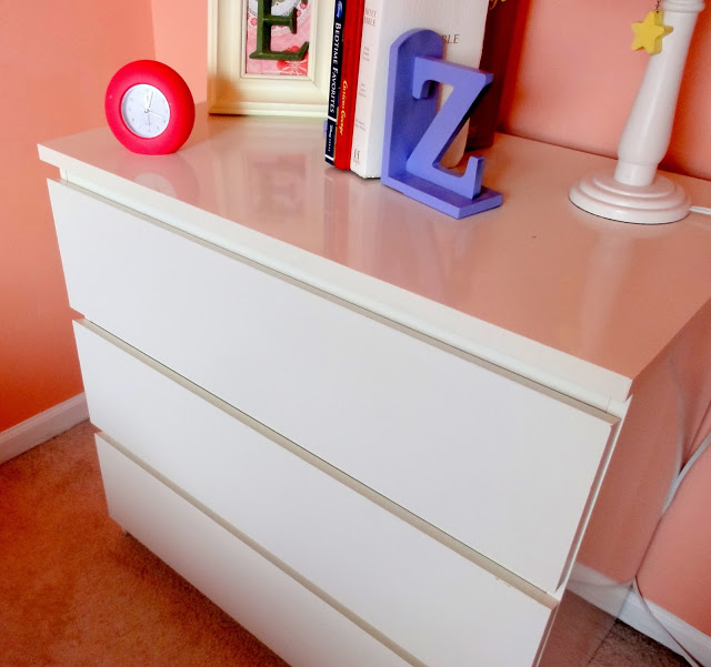 Ikea dresser in little girl room