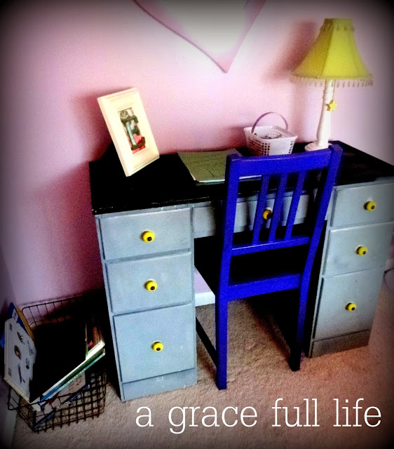 Desk in little girl room