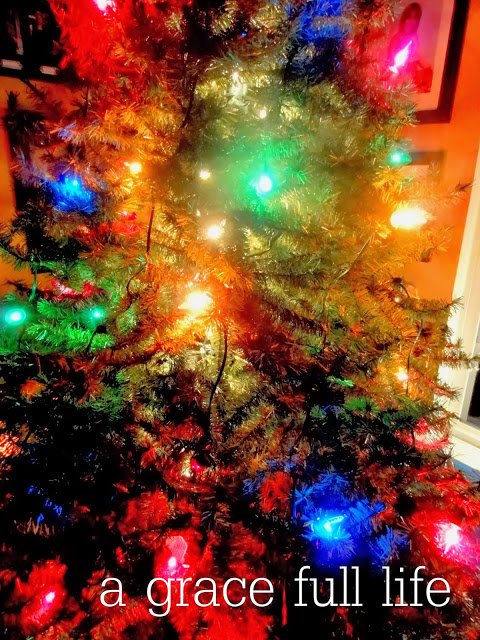 Our Christmas tree with the big colorful lights