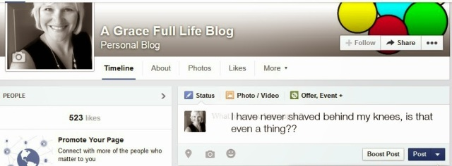 Facebook status Shaved behind knee