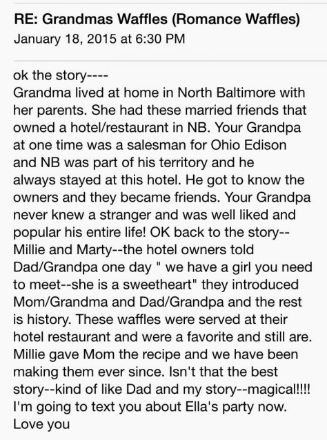 """Some history behind the """"romance"""" waffles"""
