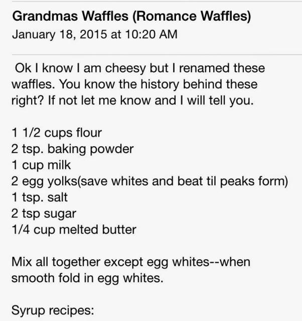 Romance Waffles recipe