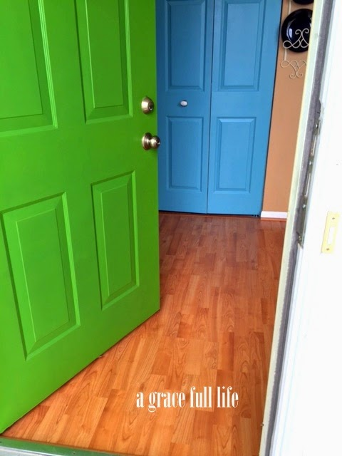green front door blue closet door