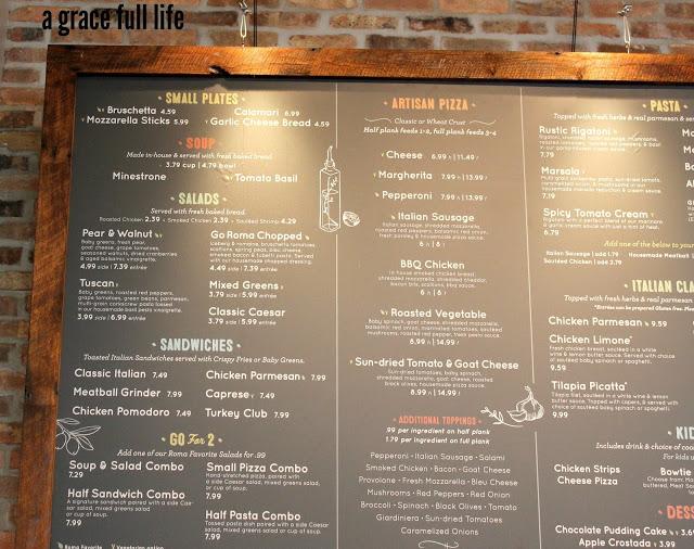 Go Roma menu