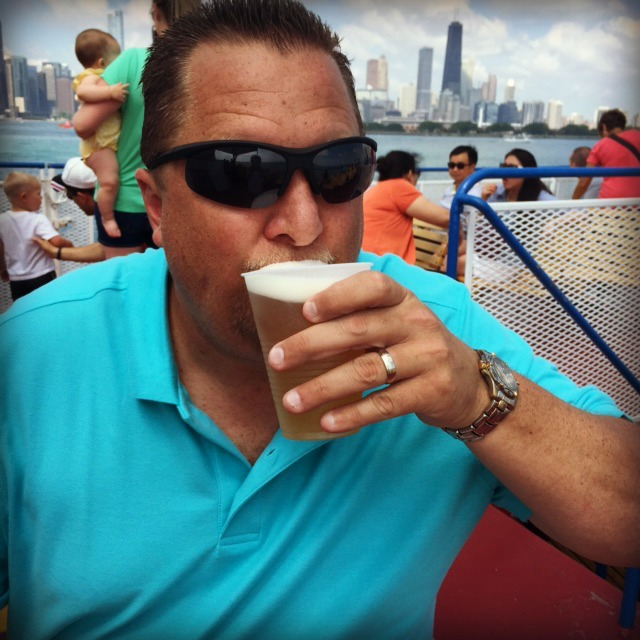 Dad drinking a beer on Shoreline Chicago