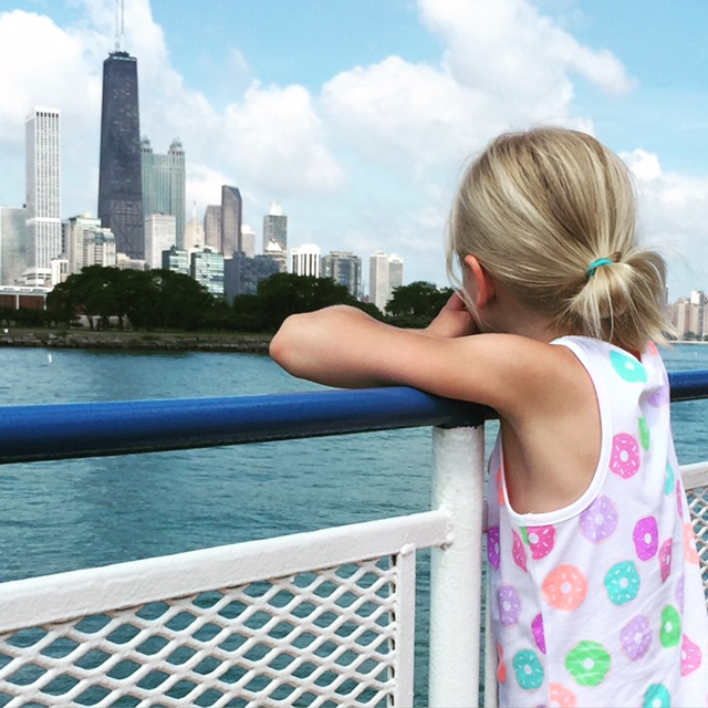 Ella looking at the John Hancock building