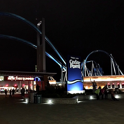 Cedar Point at night