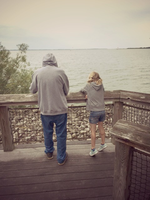looking at Lake Erie from cabins