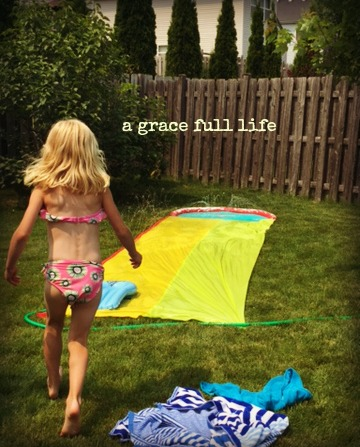 slip and slide summer backyard