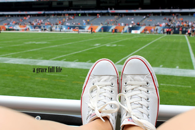 My feet at a Chicago Bears game