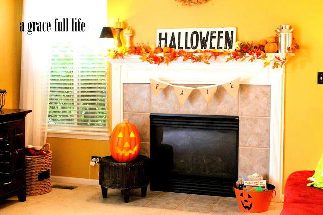 Halloween sign on mantel