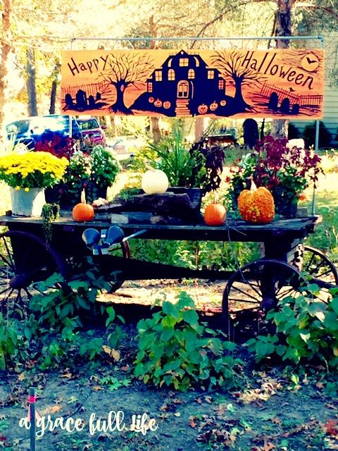 Pumpkins on wagon in Autumn