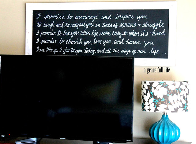 vows on chalkboard a grace full life
