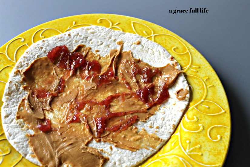 peanut butter, jelly, quesadilla