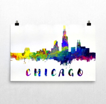 Modern Map Art Chicago Print